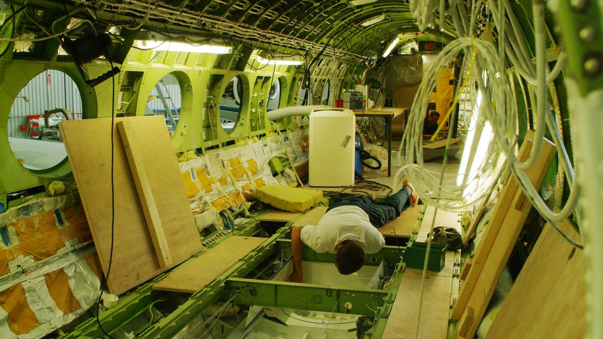 Extensive modifications in the interior of the HALO research aircraft