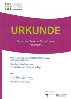 Preview image certificate German's diversity day 2019