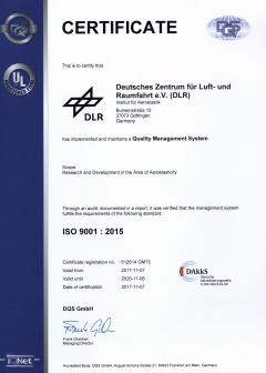 DLR's Institute of Aeroelasticity received a Quality Management System certificate from DQS