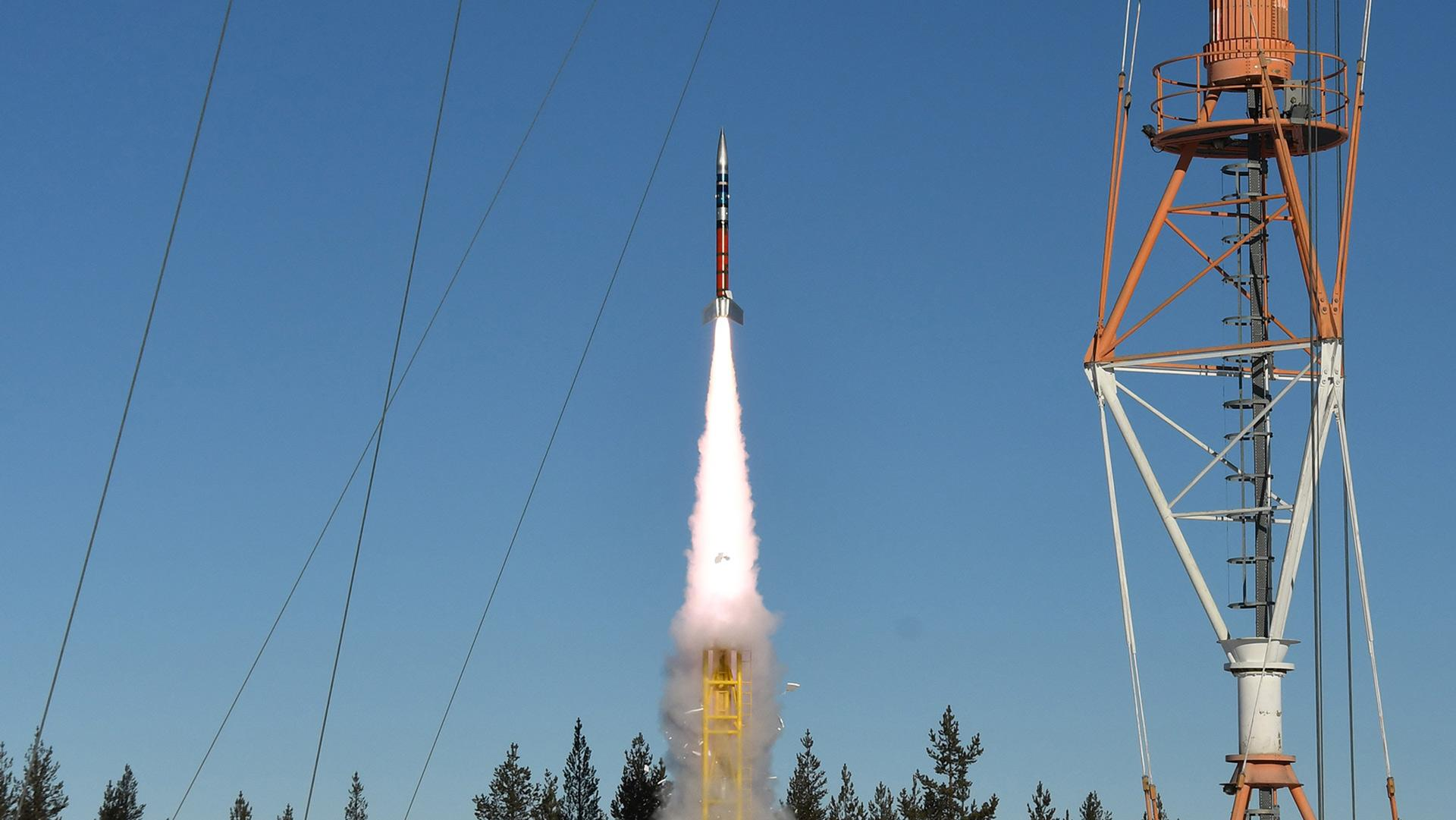Sounding rockets are launched from the Kiruna rocket range in northern Sweden