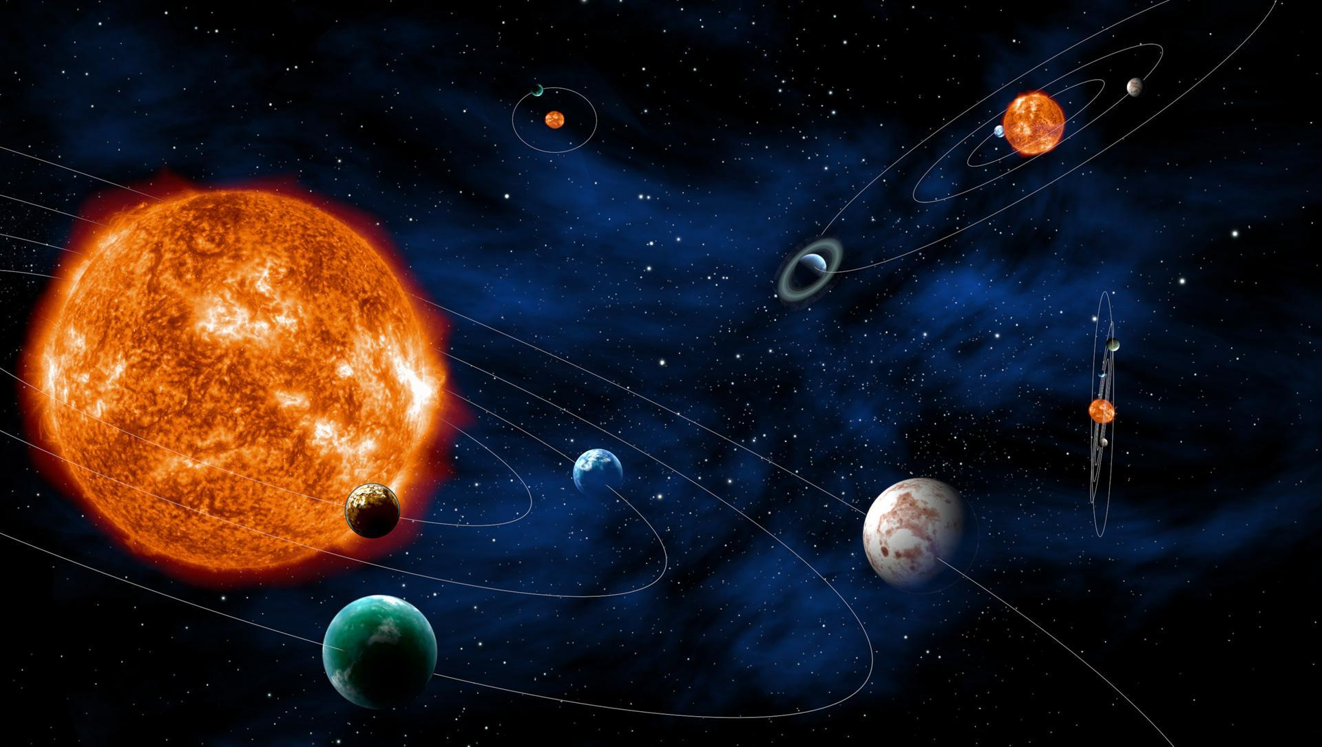 Graphical representation of the Solar System and exoplanetary systems