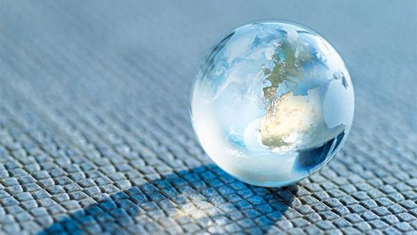 The Earth in form of a glass ball