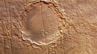 Ein durchtrennter Krater in Memnonia Fossae auf dem Mars