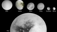 Die 16 größten Saturnmonde in maßstäblicher Darstellung