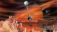 Die Huygens-Sonde landet auf dem Saturnmond Titan, künstlerische Darstellung