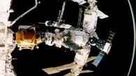 Aus der Raumfähre Atlantis: Blick auf die Mir