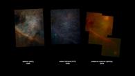 Sternbild Orion, Vergleich dreier Aufnahmen (SOFIA/FORCAST rechts)
