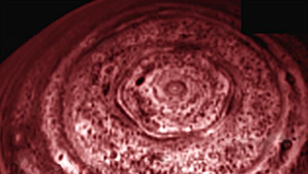 Das Hexagon, ein sechseckiger Wolkenwirbel am Nordpol