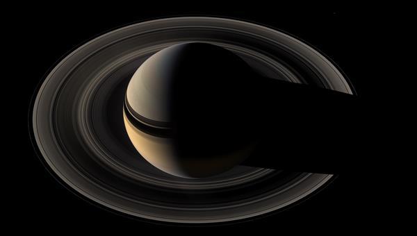 Blick auf den Saturn%2dNordpol in der Polarnacht