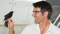 Prof. Dr. Martin Wikelski, wissenschaftlicher Leiter des ICARUS%2dProjekts, mit einer Amsel