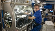 Robert Thirsk installiert die SODI%2dApparatur