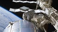 Astronauten John Olivas and Nicole Stott demontieren Expose%2dEuTEF