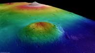 Elysium%2dVulkanprovinz %2d Perspektivische farbkodierte Topographie