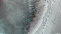 Anaglyphenbild der Abbruchkante am Nordrand von Ius Chasma