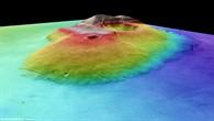 Perspektivischer Blick auf den Marsvulkan Tharsis Tholus