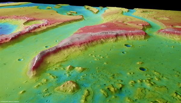 Tiu Vallis - Perspektivische Ansicht von Südosten nach Nordwesten