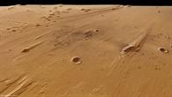 Perspektivischer Blick von Ost nach West über das Mündungsgebiet von Ares Vallis