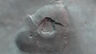 Anaglyphenbild des Vulkankomplexes Tharsis Tholus