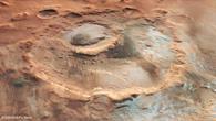 Perspektivischer Blick auf den Krater Hooke im Norden von Argyre Planitia