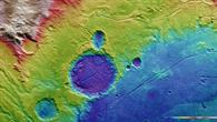 Falschfarbendarstellung der Topographie des Westteils der Arda Valles