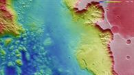 Falschfarbendarstellung der Topographie am Westrand von Aurorae Chaos