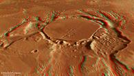 Anaglyphen%2dPerspektivansicht eines mit Sedimenten gefüllten Kraters