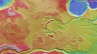Topographische Bildkarte des Gebiets Mangala Valles und Minio Vallis