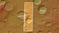 Topographische Übersichtskarte der Region Aonia Terra auf dem Mars