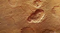 Blick auf den Dreifachkrater in Terra Sirenum