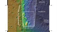Topographische Übersichtskarte des westlichen Randes des Hellas Einschlagsbeckens