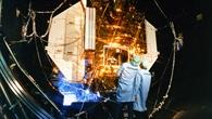 Rosat beim Test in der Weltraum%2dSimulationskammer