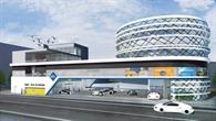 Tankstelle in der Großstadt im Jahr 2040