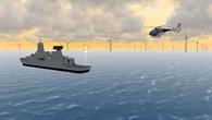 Simulierter Flug im Offshore%2dWindpark im AVES bei guten Sichtbedingungen