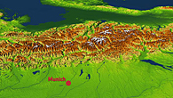 Höhenmodell der Alpen