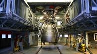 Neu entwickelte Schubdüse NE%2dX erstmals auf dem Prüfstand beim DLR Lampoldshausen.