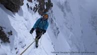 Ralf Dujmovits im Aufstieg zwischen der Felschulter und Lager II