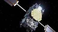 Ein Galileo%2dSatellit in freier Umlaufbahn. Diese Grafik zeigt den Satelliten mit ausgeklappten Sonnenflügeln.
