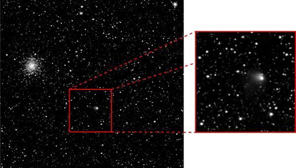 Die Aufnahme der OSIRIS%2dKamera vom 30. April 2014 zeigt den Kometen Churyumov%2dGerasimenko. Der Zielkomet der Rosetta%2dMission hat eine Staubwolke um sich gebildet, die bis zu 1300 Kilometer weit ins Weltall hineinreicht. (Bild: ESA/Rosetta/MPS for OSIRIS Team MPS/UPD/LAM/IAA/SSO/INTA/UPM/DASP/IDA)