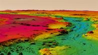 Farbkodierte perspektivische Ansicht der Topographie des Ares Vallis%2dOberlaufs