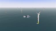 Simulierter Flug im Offshore%2dWindpark im AVES bei guten Sichtbedingungen mit dem ACT/FHS Hubschraubermodell