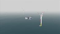 Simulierter Flug im Offshore%2dWindpark im AVES bei starkem Nebel mit dem ACT/FHS Hubschraubermodell