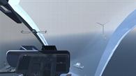 Simulierte Sicht aus einem Hubschraubercockpit bei Nebel in einem Offshore%2dWindpark
