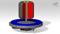 """Konzept """"DuoTherm"""" in Schnittansicht; blau %2d Niedertemperaturspeicher, rot %2d Hochtemepraturspeicher, gelb %2d Elektrische Heizeinrichtung."""