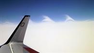 Blick auf Eiswolken während des Fluges