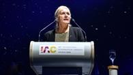Prof. Pascale Ehrenfreund bei einer Rede auf dem IAC 2018 in Bremen