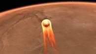 InSight beim Eintreten in die Marsatmosphäre (künstlerische Darstellung)