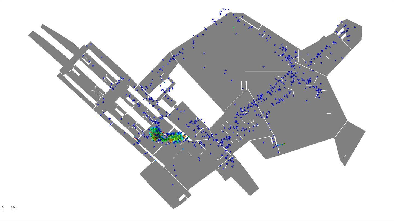 Fußgängersimulation (mit SUMO) des intermodalen Knoten am Alexanderplatz (mit U-, S-, und Tramstationen).
