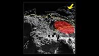 Nahaufnahme des von MASCOT untersuchten Steins: Der Gelbe Pfeil zeigt die Beleuchtungsrichtung, die gepunktete Linie trennt den beobachteten Stein vom Hintergrund. Das rot eingefärbte Gebiet zeigt den Teil des Steins, in dem vom Radiometer MARA die Oberflächentemperatur gemessen wurde, die gestrichelte Line zeigt einen Vorsprung im Stein. Der Maßstab in der Mitte des Bildes zeigt die Dimensionen in dieser Entfernung von der Kamera. Aufgenommen hat das Bild die DLR-Kamera MASCAM auf MASCOT.