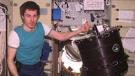 Sergej Krikalev an Bord der Internationalen Raumstation ISS