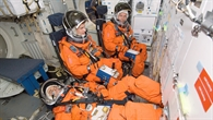 Die Crew beim Shuttle%2dStart%2dTraining im Johnson Space Center